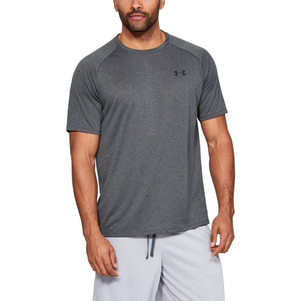 Under Armour Men's Tech 2.0 Short Sleeve T-Shirt, Carbon Heather (090)/Black, Large