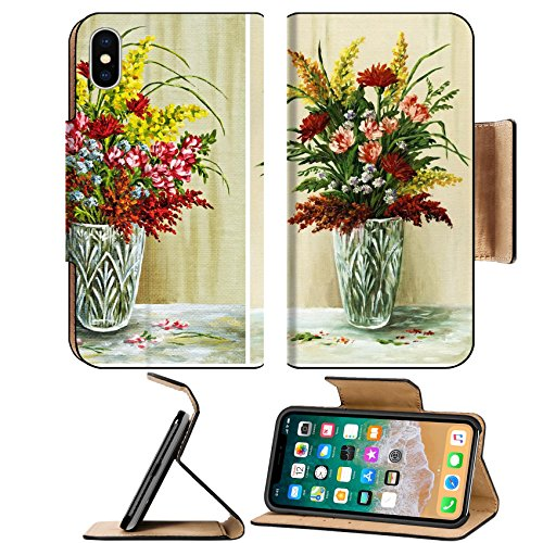Flora Crystal Vase (Liili Premium Apple iPhone X Flip Pu Leather Wallet Case Flowers bouquet of in a crystal vase Picture oil paints on a canvas set Photo 8566428 Simple Snap Carrying)