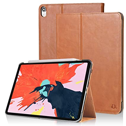 new concept 20750 35f7d Dingrich iPad Pro 11 Case with Apple Pencil Holder,Tri-Fold Genuine Leather  Case Cover Compatible with iPad Pro 11 Inch 2018 Release, with Auto Sleep  ...