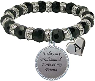 product image for SAS Custom Today My Bridesmaid Forever My Friend Glass Bracelet Bridal Party Gift Choose Initial Choose Color