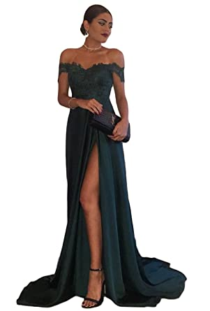 Sogala Off Shoulder Dark Green Long Prom Dresses for Women Side Slit Lace Appliques Sexy Womens