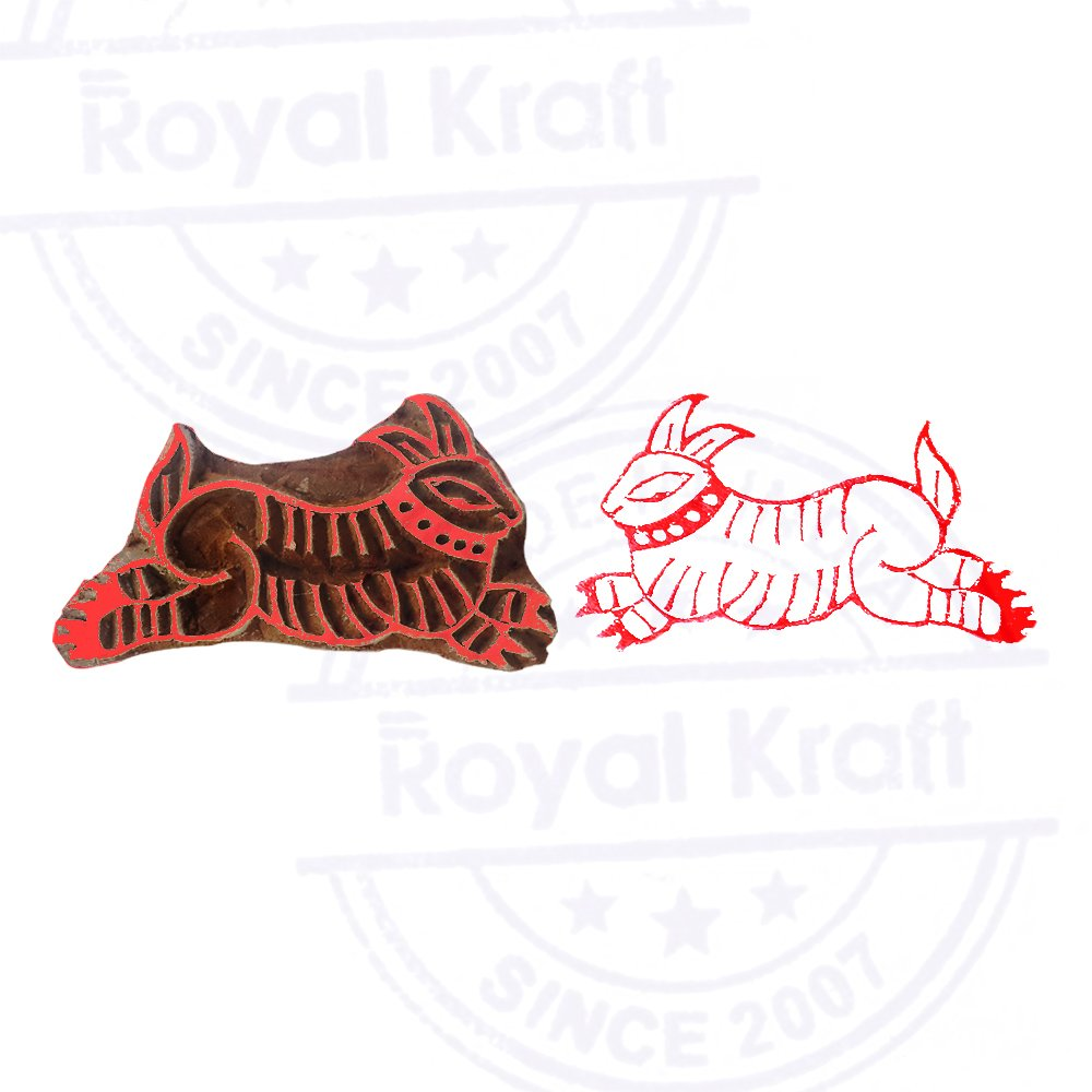 Arty Crafty Rabbit Animal Pattern Wood Print Textile Stamp