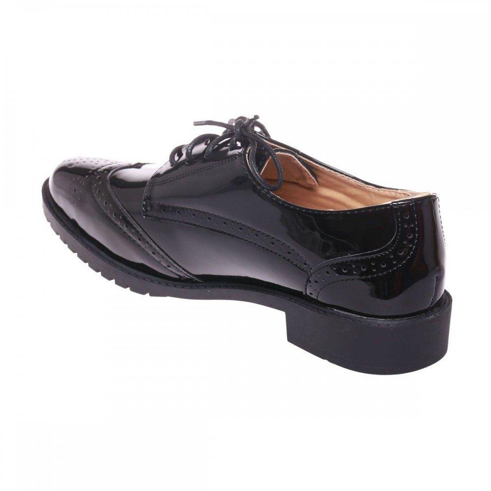 f152d39374a Primtex Derbies Vernies Noir Femme Semelle Cuir à Talon carré-  Amazon.fr   Chaussures et Sacs