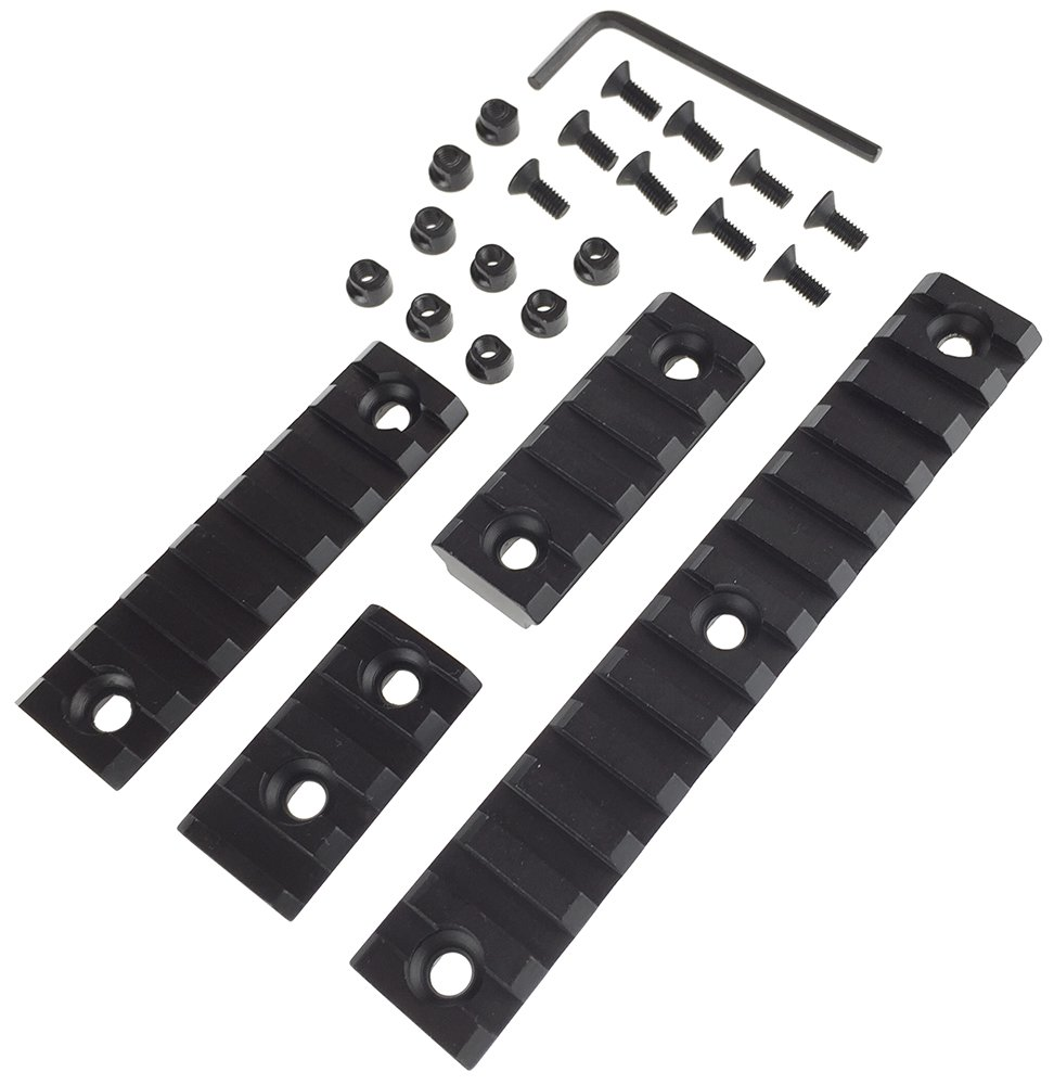 SportPro SP 20mm Aluminium Picatinny Rail Sections A for KeyMod Handguard 5 Pack Airsoft – Black