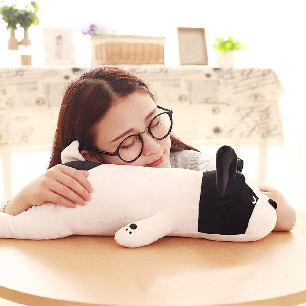 ASYY Cute Plush Stuffed Animal Pillow Soft Huggable Bulldog Doll Cushion Toys Gift for Baby Toddler Black
