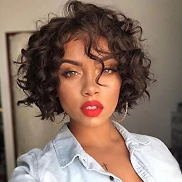 Amazon Com Short Curly Wave Lace Front Wig Brazilian Curly Bob