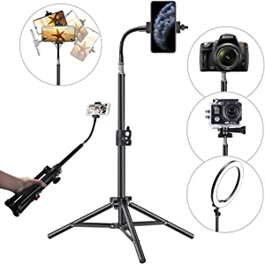 Phone Tripod Fits iPhone, Pixel Phone Video Stand Cell Phone Tripod for Video Recording, Vlogging/Streaming/Photography, Smartphone Tripod Stand, Sturdy and Lightweight Stand