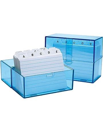 Wedo 2507303 - Caja archivadora de tarjetas DIN A7/300, azul translúcido