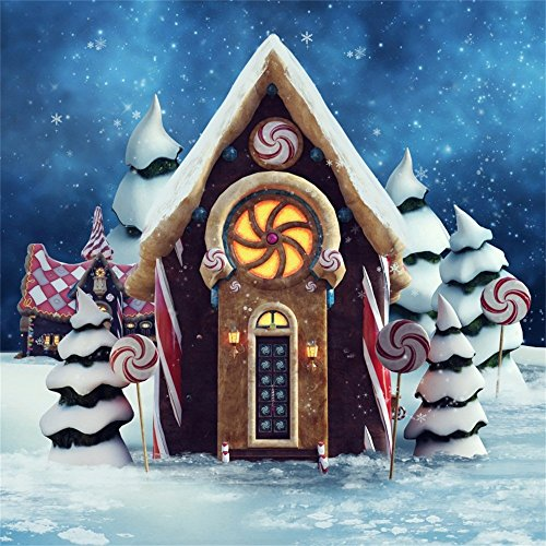 LFEEY 10x10ft Fairyland Gingerbread Cottage Backdrop for Kids Birthday Snowy Ice World Christmas Trees and Lollipops Winter Snow Photo Background Party Events Photography Studio Props