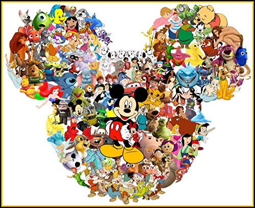 Disney Character Collage - For Dark-Colored Materials - Iron On Heat Transfer 8