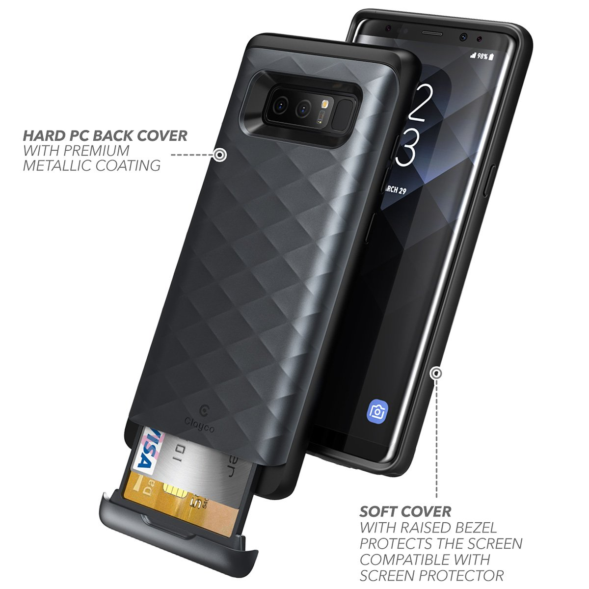 the latest 37ede 128eb Details about For Samsung Galaxy Note 8 Case, Clayco Argos Protective Cover  with ID Card Slot