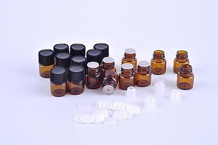 Musuntas 12 unidades 1 ML o 2 ml ámbar botella de vidrio para aceites esenciales/