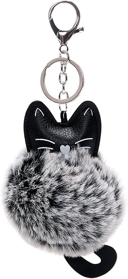 Noir iTimo Porte-cl/és Fausse Fourrure Porte-cl/és Porte-cl/és de Voiture en Cuir synth/étique Fluffy Bijoux Auto Accessoires T/ête de Chat poup/ée Porte-cl/és pour Filles Femme