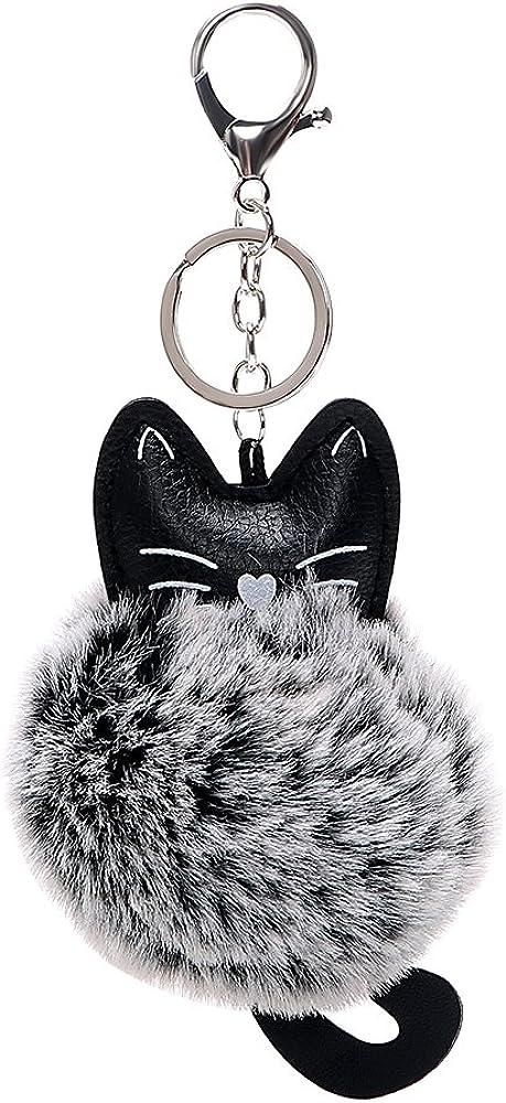 con dise/ño de cabeza de gato blanco y negro de piel sint/ética Llavero de piel sint/ética iTimo para coche para ni/ñas y mujeres