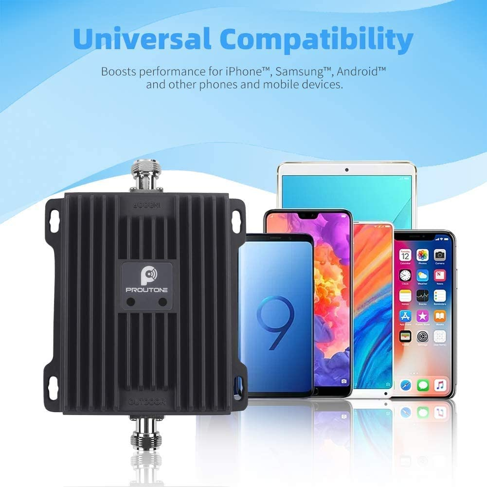 Proutone Repetidor de Señal 4G LTE Amplificador 4G Banda 20 Banda 7 Amplificador de Cobertura Movil para Casa Oficina Rurales 800MHz 2600MHz Vodafone ...