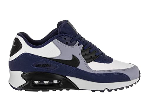 NIKE Men's Air Max 90 Leather Running Shoes, Blue VoidBlack Ashen Slate, 9.5