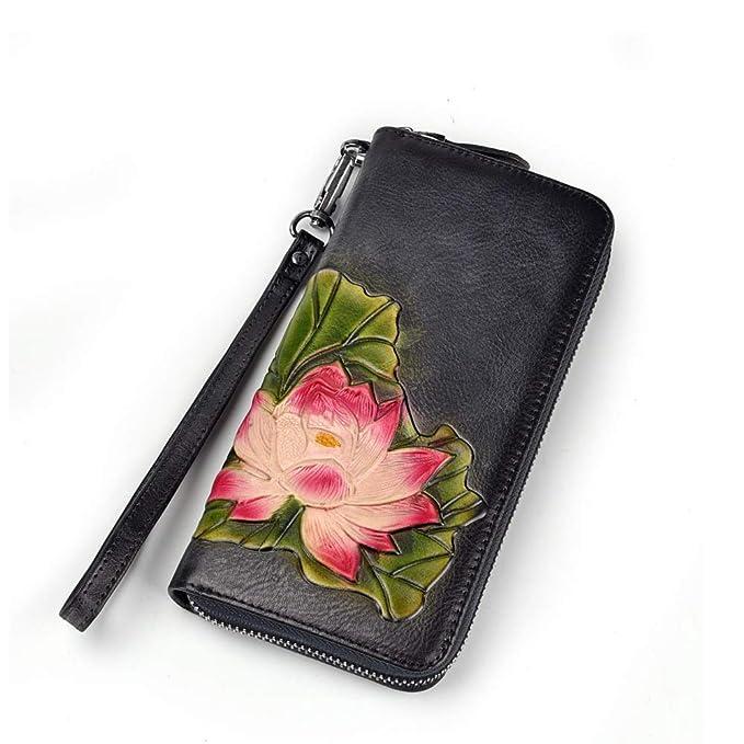 Amazon.com: Cartera de piel para mujer, diseño de loto con ...