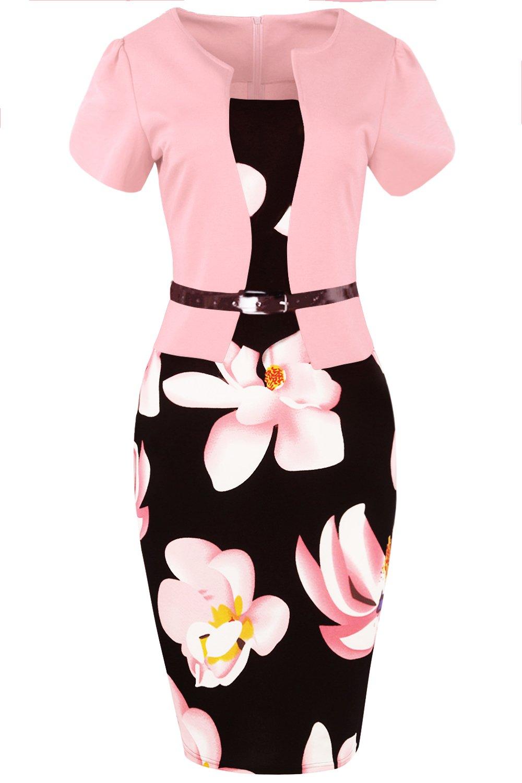 Women's Audrey Hepburn Style Short Sleeve Belt Waist Cocktail Tea Dress (Pink,S)
