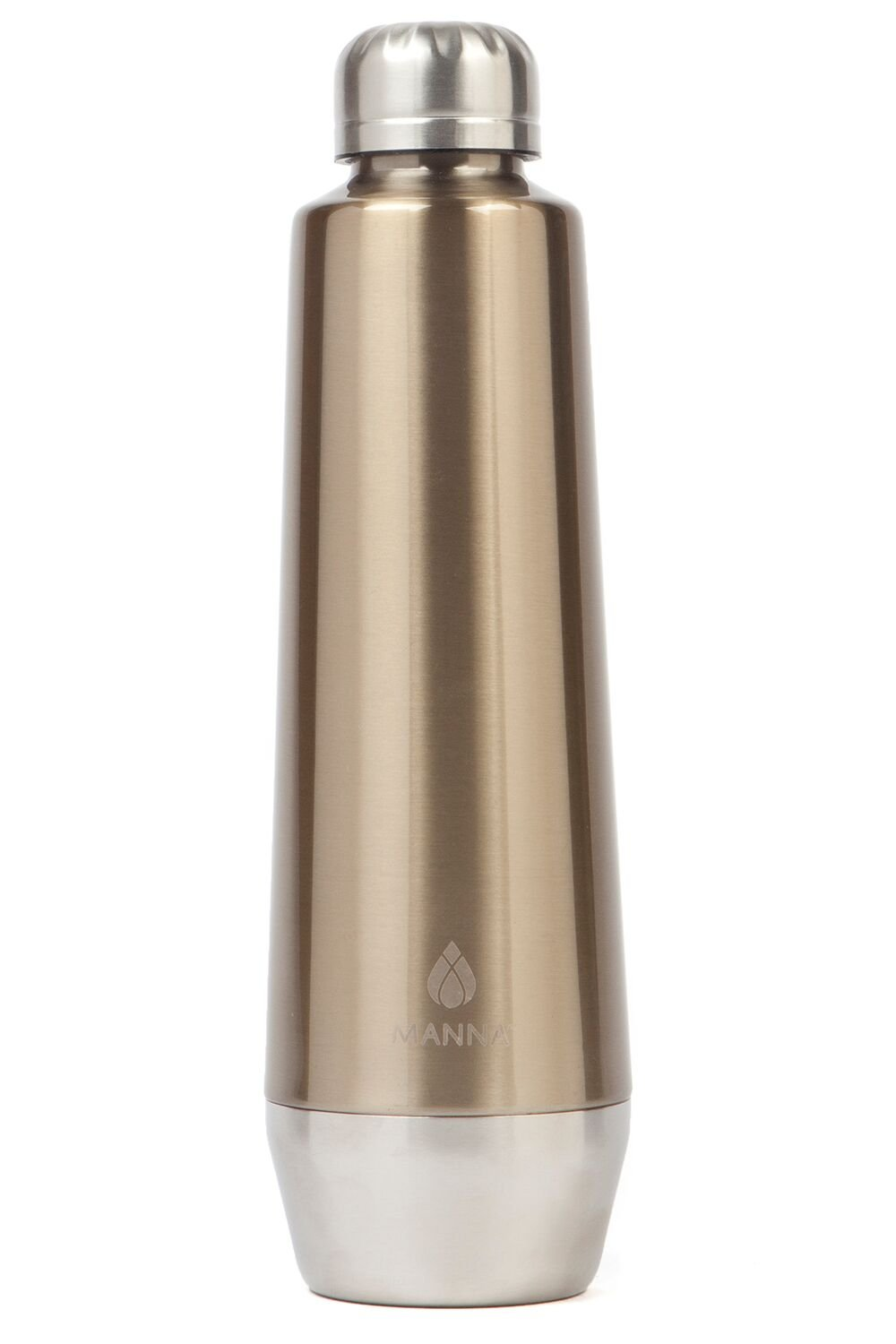 Manna Moda Metallic Stainless Steel Double Walled Vacuum Insulated 18 oz Water Bottle | No Sweat | BPA Free | Keeps Drinks Hot 12 Hours & Cold 24 Hours | For Office, Home or Camping - Gold