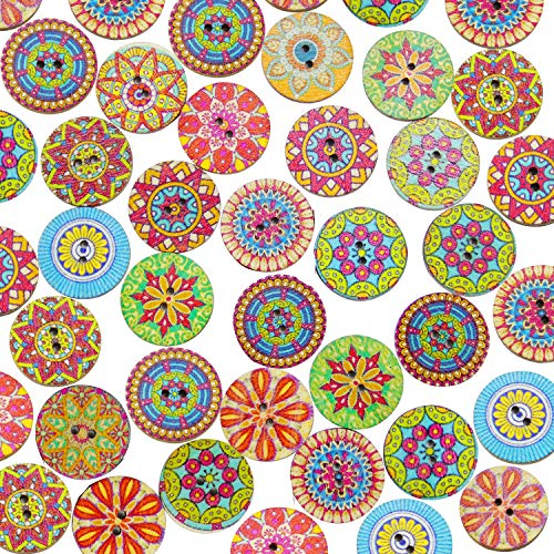 200 Pieces 20mm Wood Buttons with 2 Holes Vintage Wood Buttons Mixed Color Wooden Buttons
