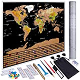 Anpro Scratch Off World Map, Scratchable World Map Poster Travel Map with US States and Country Flags Abundant Accessories Kit and Gift Tube for Travelers (82.5x59.5cm)