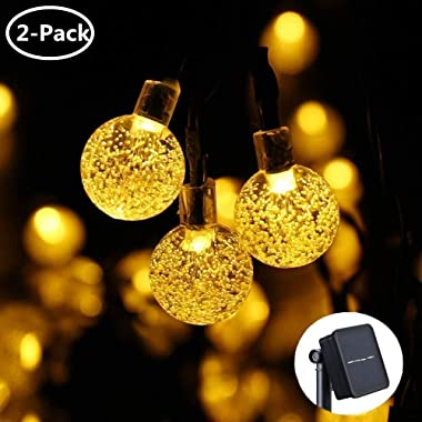 Icicle Outdoor Solar String Lights,Waterproof 30 LED Crystal Bubble Globe String Lights Outdoor/Indoor Decorations, Warm White(2 Pack)