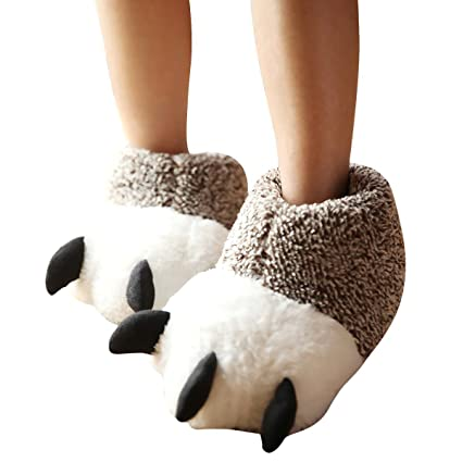 884b441bf20 Image Unavailable. Image not available for. Color  Eforstore Unisex Plush  Paw Slipper Winter Warm Furry Animal Slippers Bear Claws House ...