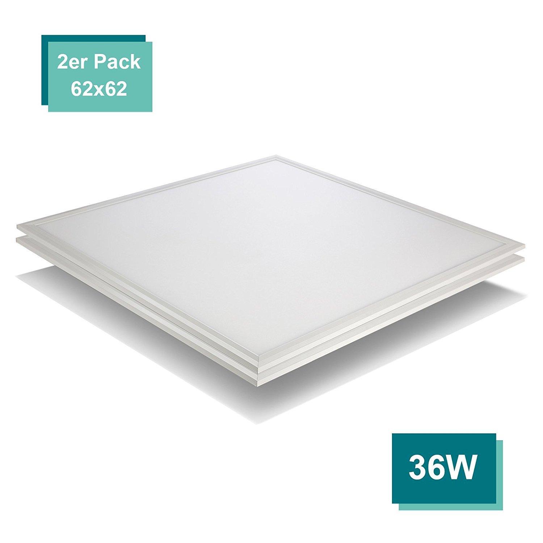 [PRO High Lumen][2er Pack zum Sparpreis] OUBO LED Panel 62x62 Deckenleuchte Kaltweiß 6000K, 36W, Bürolampe für Odenwalddecke, Rasterleuchten, Einlegeleuchte, Weißrahmen