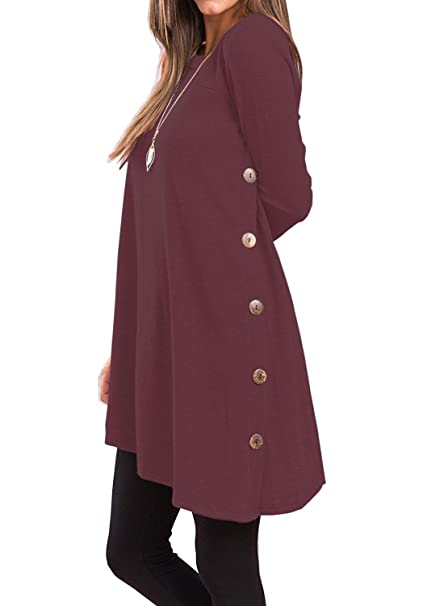 9bcc8eb187a I2CRAZY Women Sweaters Long Sleeve Round Neck Tunic Tops Casual Side Button Shirt  Blouse -XS, Wine Red at Amazon Women's Clothing store: