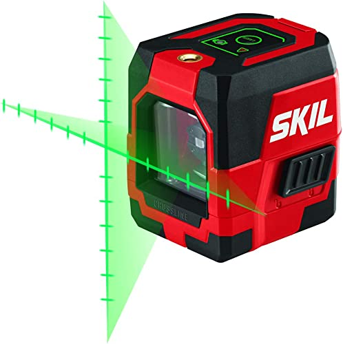 SKIL 65ft. Green Self-leveling Cross Line Laser Level with Projected Measuring Marks, Rechargeable Lithium Battery with USB Charging Port, Clamp Carry Bag Included –