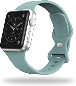 STG Smart Watch Band Compatible with Apple Watch Band 38mm 40mm 42mm 44mm, Soft Silicone Replacement Sport Strap Compatible for iWatch SE Series 6/5/4/3/2/1 (38/40mm, Cactus)