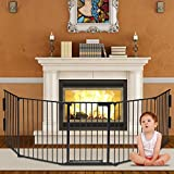 Safety Fireplace Gate Baby Foldable Fence Hearth Pet Gate with Door BBQ Fireplace Protection Fire Gate