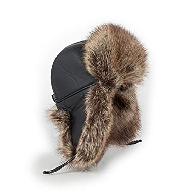 9aa4030b719 DOSOMI Russian Bomber hat Men s hat for Winter Quality Thickening Imitation  Leather Fur hat Ear Protect
