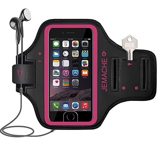 iPhone 7/7S Plus Armband, JEMACHE Fingerprint Touch Supported Sports Jogging Running Exercise Workout Gym Arm Band for iPhone 6/6S/7/7S Plus with Key/Card Holder (Rosy)