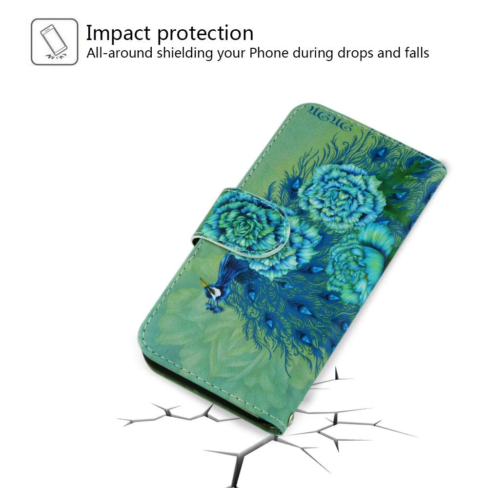 Urbeutyke Huawei Mate 20 Wallet Case, Huawei Mate 20 Case, Premium PU Leather Flip Folio Case Cover with Wrist Strap, Card Holder, Cash Pocket, Kickstand for Huawei Mate 20 - Green Peacock