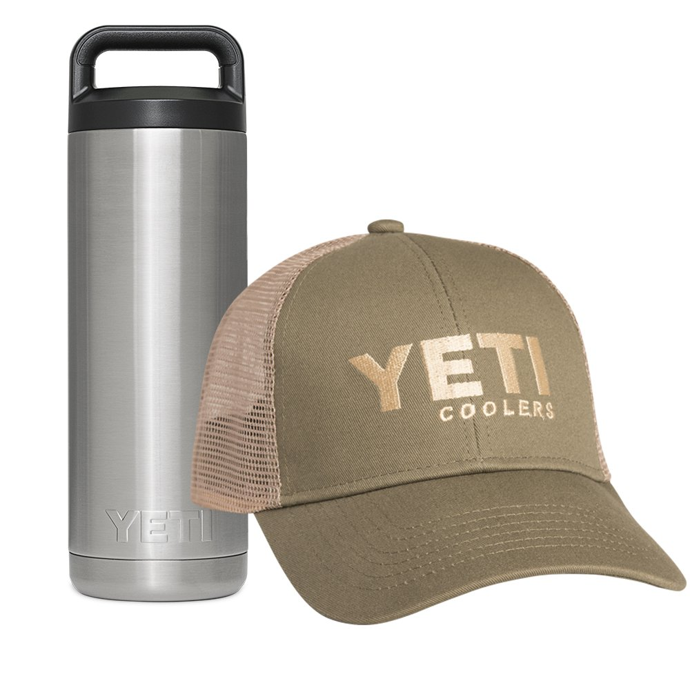 YETI Rambler Stainless Steel Vacuum Insulated 18 oz Bottle with Bonus Trucker Hat