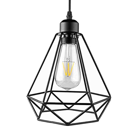 industrial painted iron pendant light onever black diamond cage