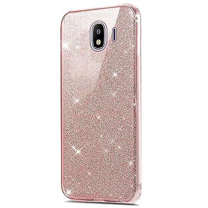 Funda Compatible con Samsung Galaxy J4 Plus Carcasa 360 Grados Silicona,Transparente Silicona Cover Bling Glitter Brillante 360 Grados 3 en 1 ...