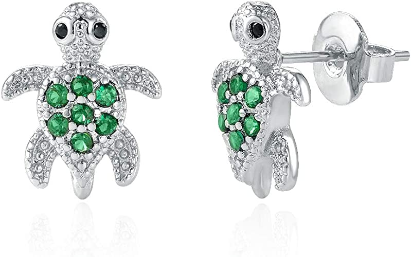 Girls Turtle Colorful Ear Studs 925 Sterling Silver