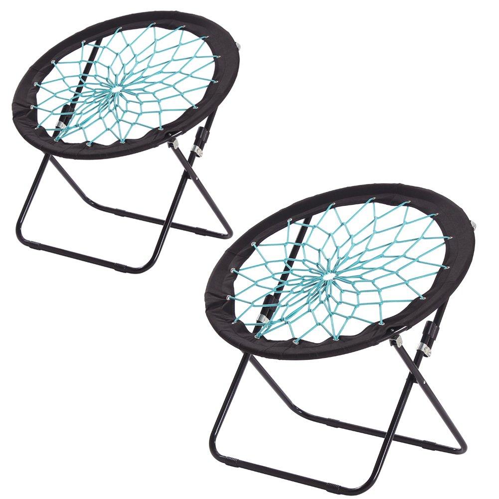 CampLand Bunjo Bungee Dish Chair Folding Camping Relax Fun Chair, set of 2