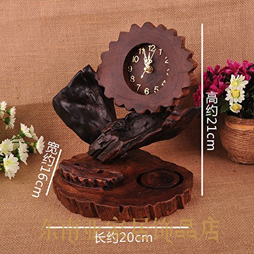 Wood alarm clock candlestick beacon creative hand-carved decorative ornaments bells by Clocks CC