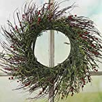 Factory-Direct-Craft-Artificial-Grass-and-Red-Burgundy-Wildflower-Twig-Wreath-for-Home-Decor-Displaying-and-Designing