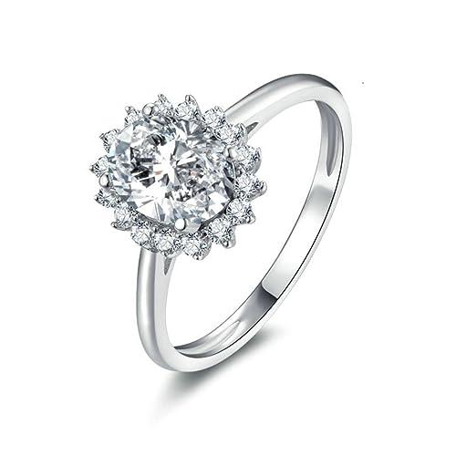 Daesar Joyería Anillos de Compromiso de Plata S925 Mujer, Flor Halo Vintage con Diamantes de