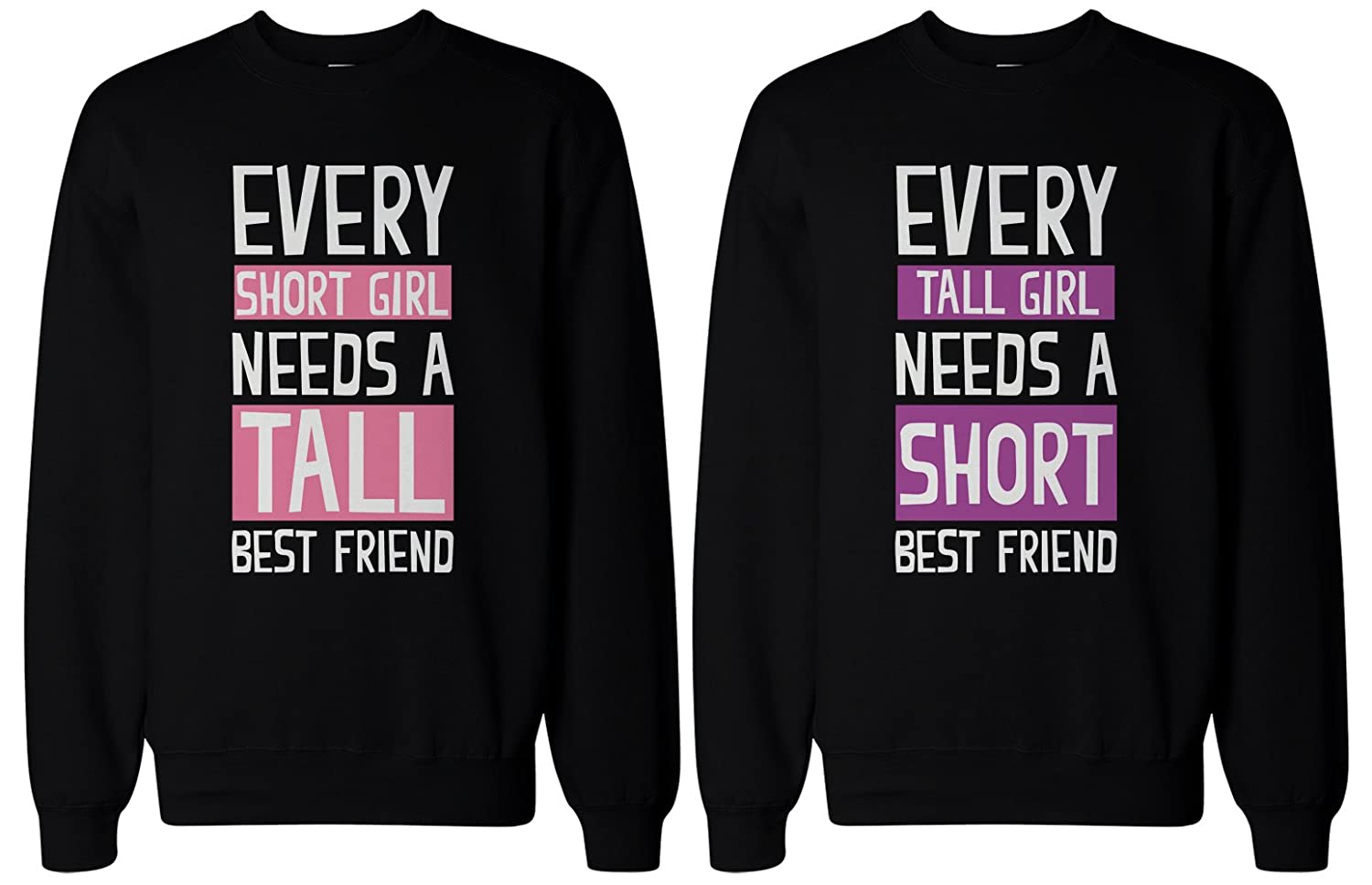 326524cb4 Amazon.com: 365 In Love BFF Gifts - Tall and Short Best Friend Matching  Sweatshirts for Best Friends: Clothing