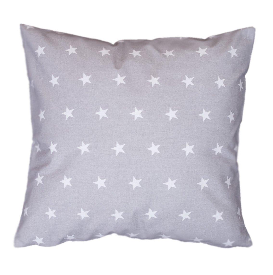 Amilian® Handcrafted Decorative Plush Filled Art-Deco Star Print Grey/White 100% Cotton Premium Quality Durable Throw Cushion Pillow 40 cm x 40 cm