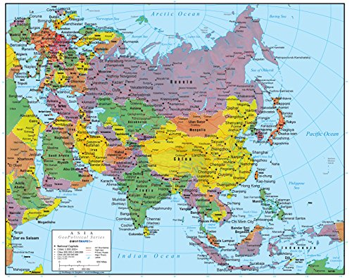 Asia Wall Map GeoPolitical Edition by Swiftmaps (24x30 Laminated)