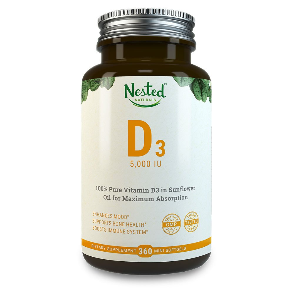 VITAMIN D3 5000 IU | 360 Vegetarian Potent & Effective Softgels | Pure Daily D Vitamins Supplement for Men & Women | Made with All Natural Lanolin | Non GMO, Gluten Free & Soy Free Vit Supplements