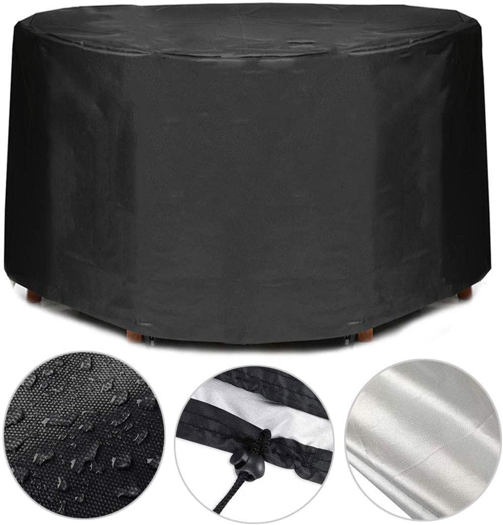 iiSPORT Patio Round Table and Chair Set Cover, Garden Outdoor Circular Patio Table Cover, 210D Oxford Waterproof Durable Furniture Set Cover, 73 Dia x 43 H, Black