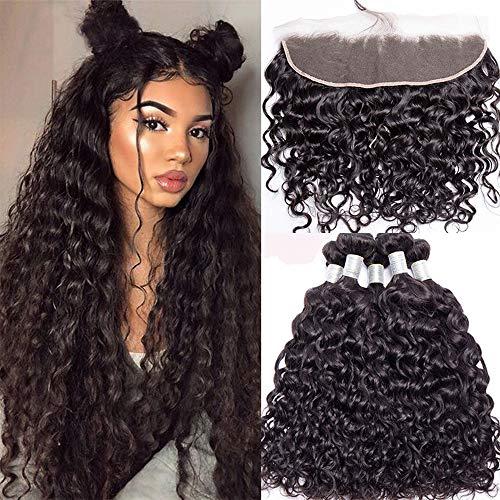 Suerkeep Hair Water Wave 3 Bundles with Lace Frontal Brazilian 8A Grade Virgin Hair Jerry Curls Bundles Ear to Ear Frontal 13x4 Unprocessed Wet and Wavy Human Hair Weave Bundles 16 18 20+14 Natural