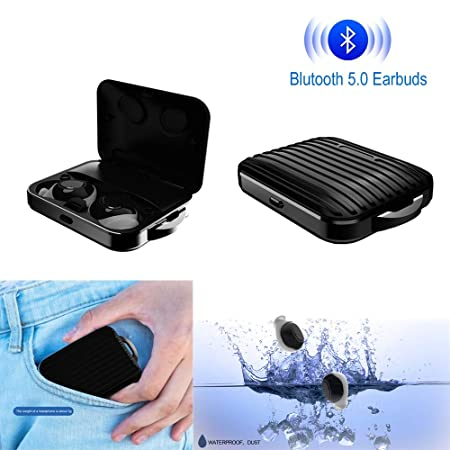 Wireless Bluetooth Earbuds 5.0, Sports Bluetooth Headphones,True Wireless Stereo Headphones Touch Control with Magnetic Charging Case, Auto-Pairing, Binaural Call Square